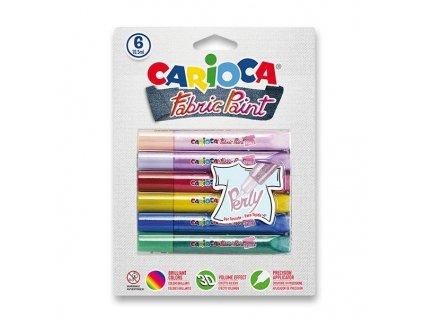 Carioca, farby na textil Fabric Paint Perly, 6 ks sada