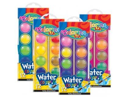 Colorino, vodové farby, puzdro, so štetcom, 12 farieb
