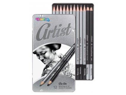 Colorino, artist kresliarske sada grafitových ceruziek a uhlov