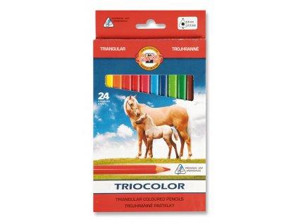 107364 koh i noor triocolor skolske trojhranne pastelky 3144 24 ks v sade