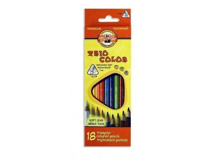 107379 koh i noor triocolor skolske trojhranne pastelky 3133 18 ks sada