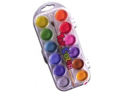 TOY COLOR, perleťové vodové farby, 12 farieb + štetec