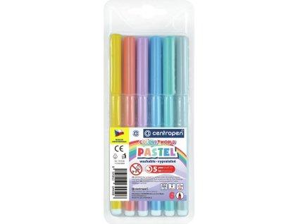 Centropen, pastelové fixky 7550, súprava 6 ks
