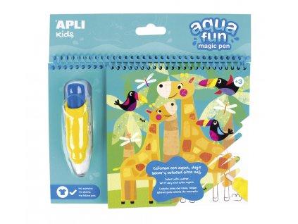 APLI maľovanky vodové Zoo s vodným perom pre opakované použitie