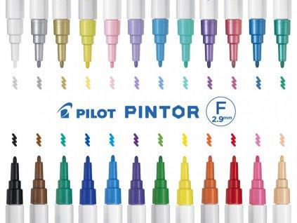 Akrylový popisovač Pilot Pintor F 1 mm (Barva Strieborná)