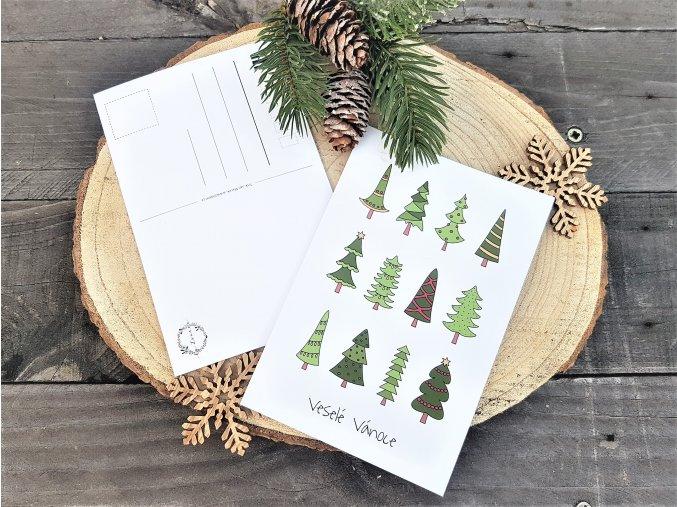 Vánoční pohlednice - Stromky
