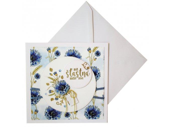 přání kvetiny modre chrpy k narozeninam k svatku