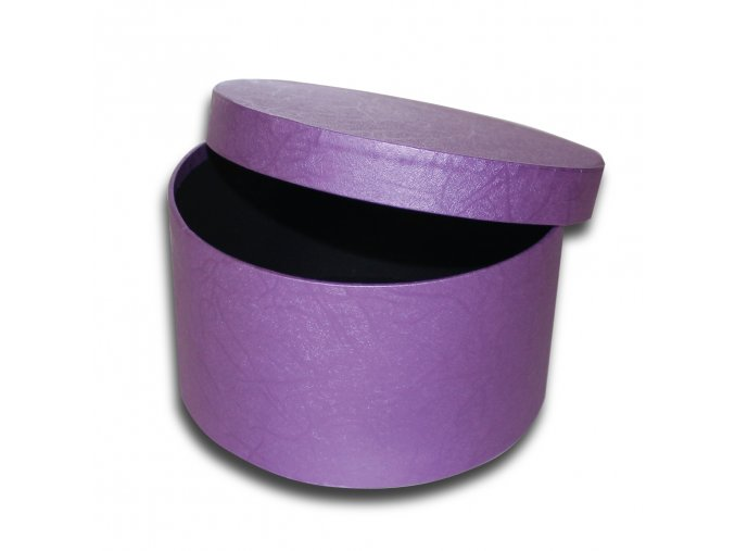 darkova krabicka fialova kulata luxusni na darek velikost v 10,5 x Ø 18,5 cm