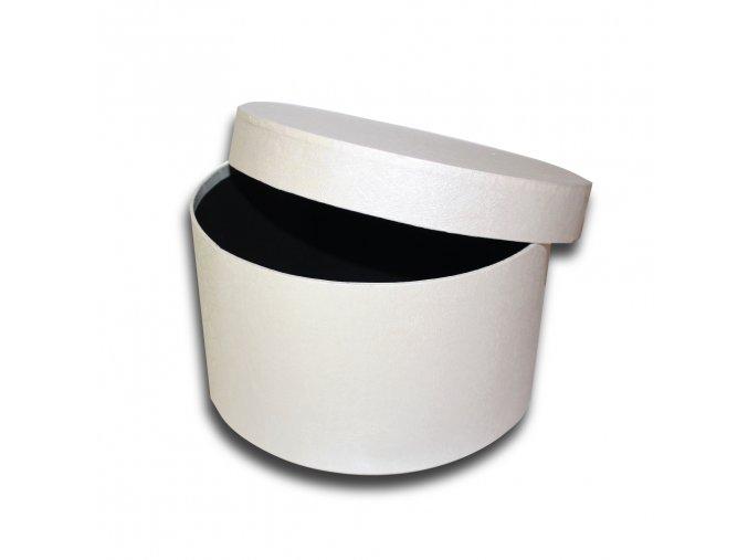 darkova krabicka bila kulata luxusni na darek velikost v 12,5 x Ø 21,5 cm