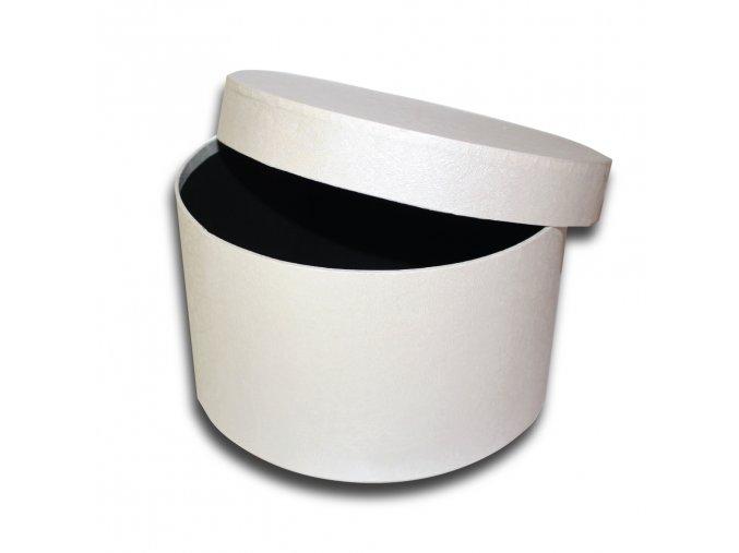 darkova krabicka bila kulata luxusni na darek velikost v 13,5 x Ø 23 cm