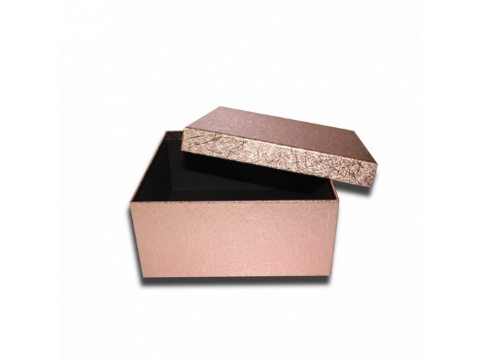 darkova krabicka ctverec bronzova leskla luxusni na darek 20,5 x 20,5 x 9,5 cm