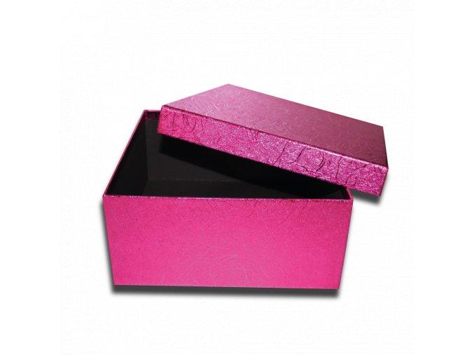 darkova krabicka fialova ruzova ctverec luxusni na darek 22,5 x 22,5 x 10,5 cm