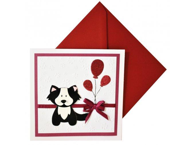 přání kocicka s balonky k narozeninam k svatku