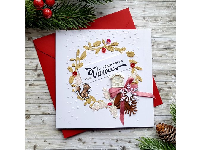 Vánoční přání, věnec s domečkem