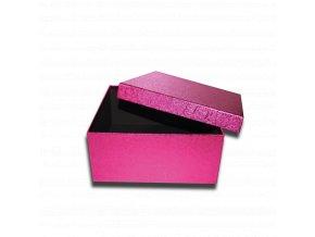 darkova krabicka ctverec fialova ruzova leskla luxusni na darek 20,5 x 20,5 x 9,5 cm