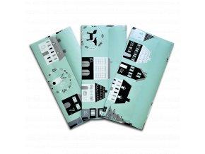 obálka na peníze s kartickou 3 kusy sada vanocni adventni domecky