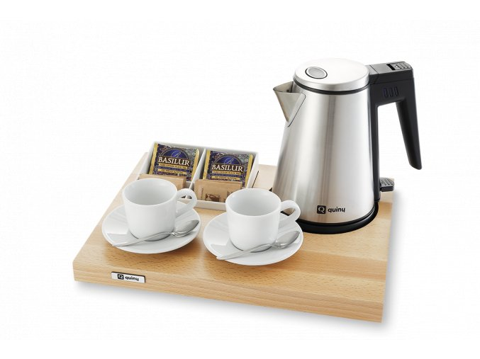 Varný set quiny s konvicí, světlé dřevo, bílý zásobník na čaj