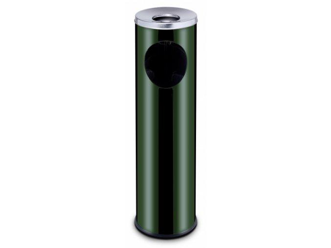 Venkovní koš s popelníkem, 15 l, zelený