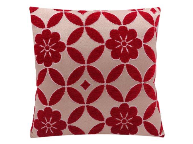 dekorační polštář, přešívaný červený 2