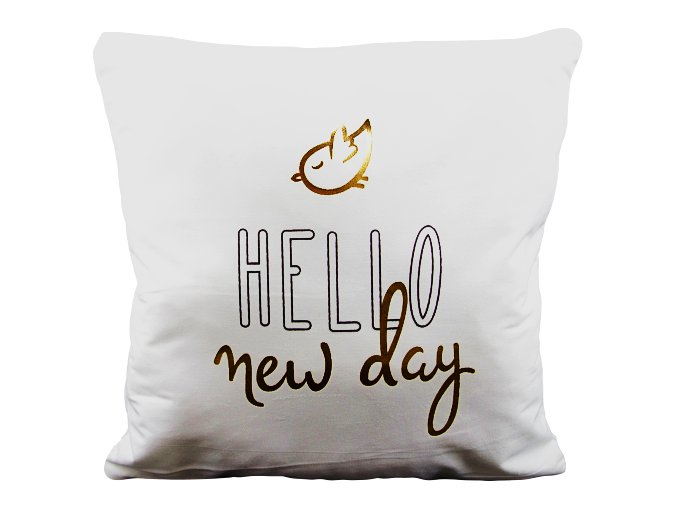 Dekorační povlak na polštář Hello New Day, 40 x 40 cm