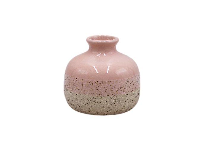 Keramická váza pískovaná malá, pastelová růžová