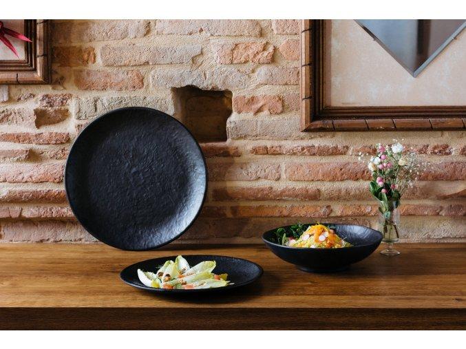 Velký melaminový talíř, černý