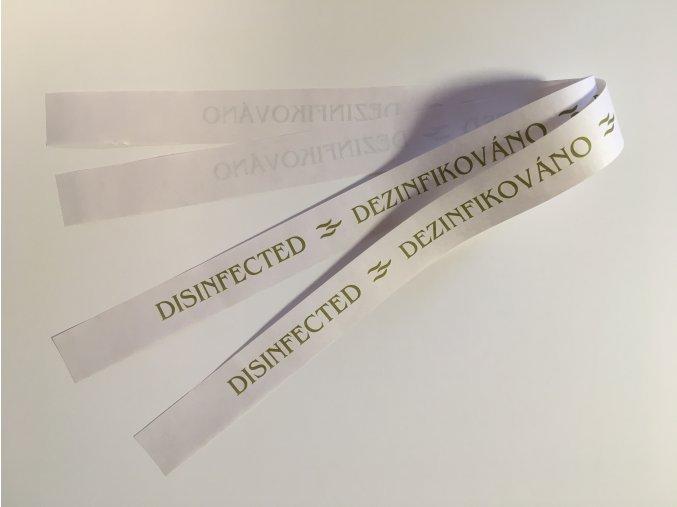 """Páska na WC """"dezinfikováno"""" - zelený tisk, rec.papír"""