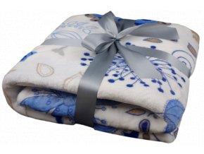 deka plišová modrobílý květ preview rev 1