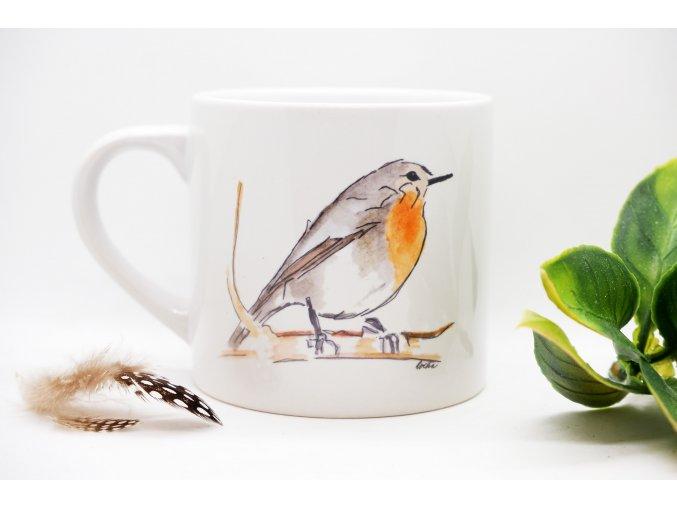 Keramický hrnek s ptáčkem