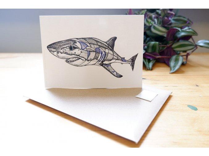 Žralok - obrázek, pohlednice