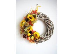 Podzimní dekorace - věnec se slunečnicí