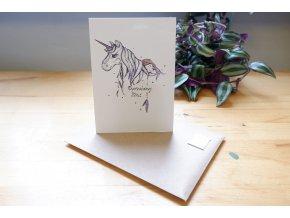 Obrázek, pohlednice - Dívka s jednorožcem