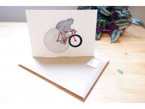 Cyklista - obrázek, pohlednice