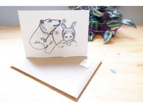 Obrázek, pohlednice - Dívka a lední medvěd