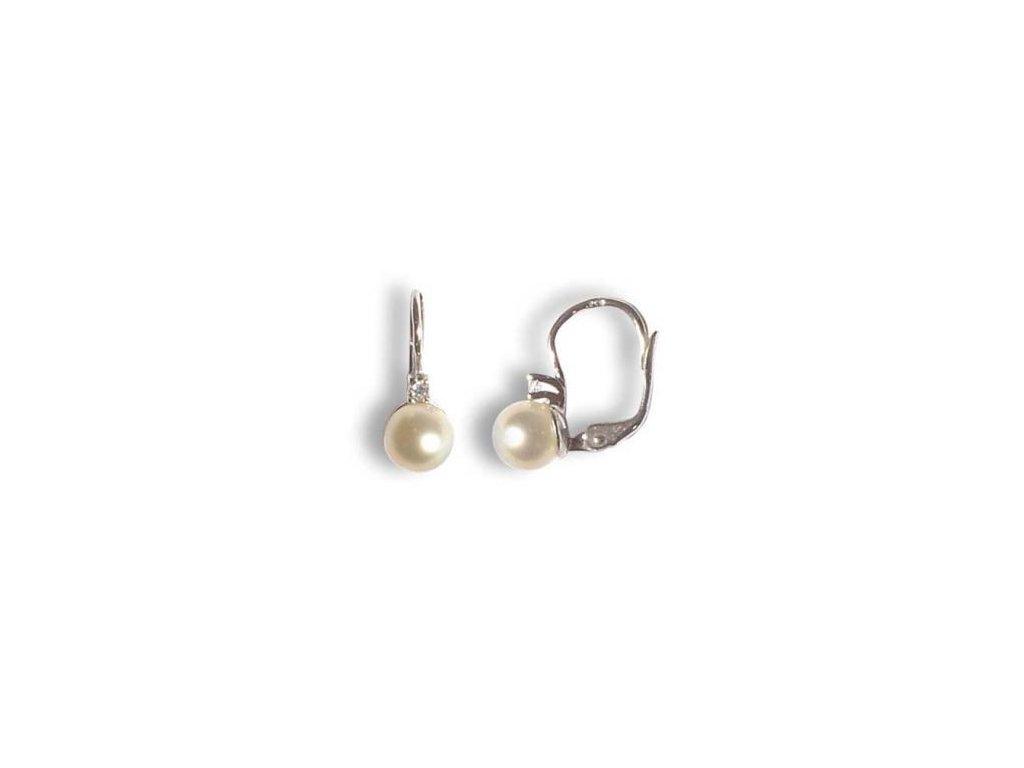 Stříbrné náušnice s přírodní kulatou perličkou EXKLUZIV