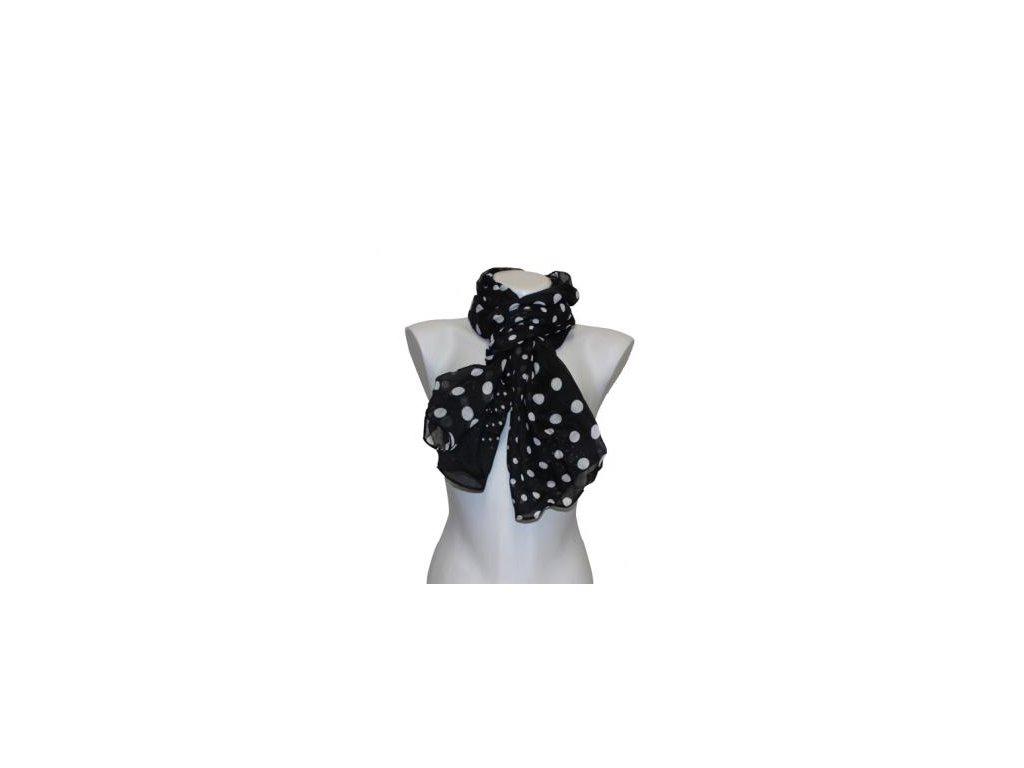 Jemný šátek s puntíky- černý- F.1