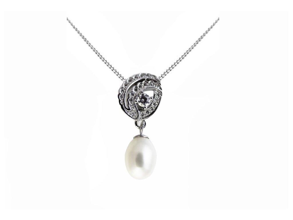 Stříbrný přívěs s pravou perlou tanečnice