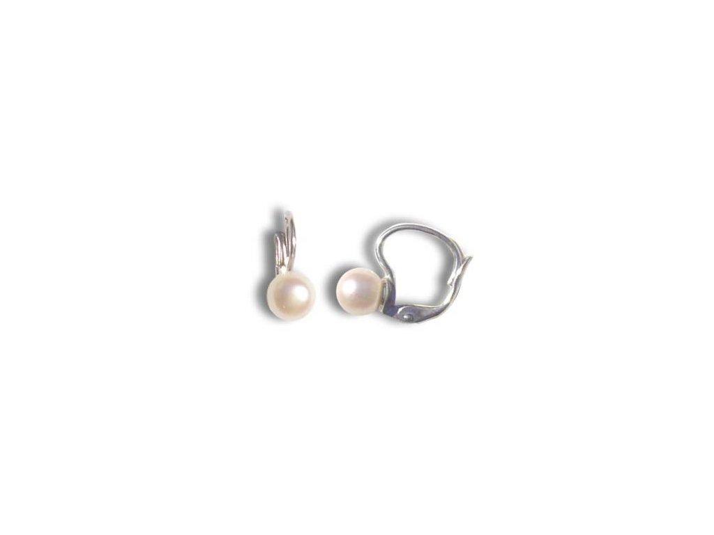 Stříbrné náušnice s přírodní perlou 7 mm  vyrobeny v České republice