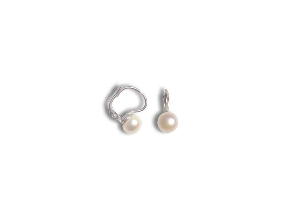 Stříbrné náušnice s přírodní perlou 8 mm  oblíbené náušnice vyrobeny v České republice