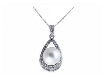Stříbrný přívěs s pravou perlou kapka