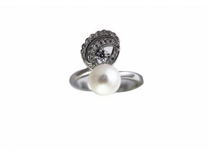 Stříbrný prsten s pravou perlou tanečnice (Velikost 56)