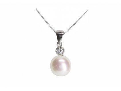 Stříbrný přívěs s pravou perlou briliant