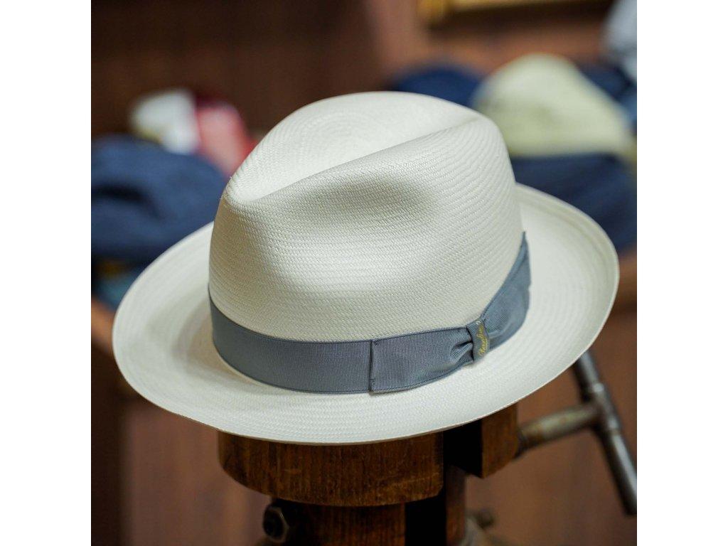 Panamský klobouk - střední krempa od Borsalino - Medium-brimmed Fine Panama - šedá stuha