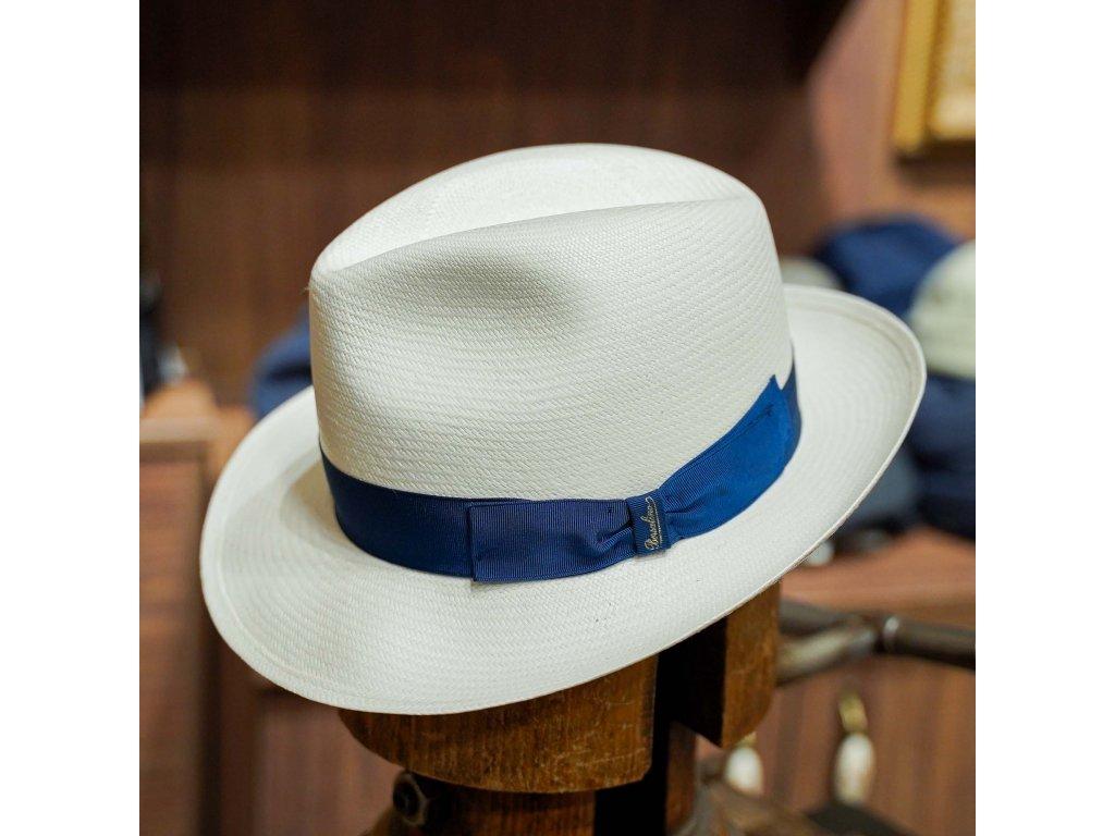 Panamský klobouk s modrou stuhou - Fedora Borsalino - Medium-brimmed Fine Panama