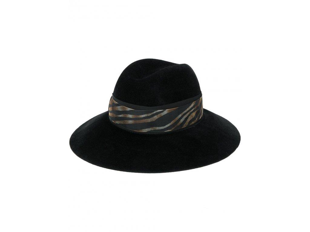 Zebra Claudette - černý dámský klobouk Borsalino
