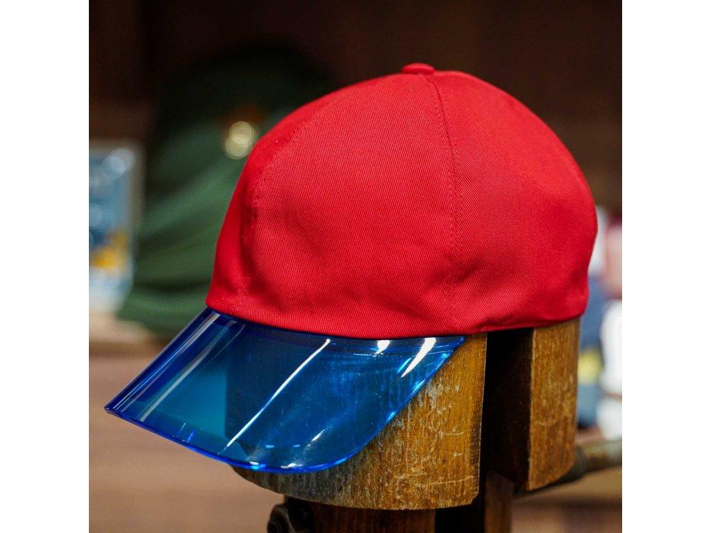 Dámská červená kšiltovka Borsalino s průhledným modrým kšiltem - pocket cap Borsalino