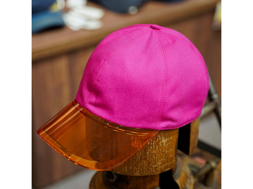Dámská bavlněná růžová kšiltovka s průhledným oranžovým kšiltem - pocket cap Borsalino