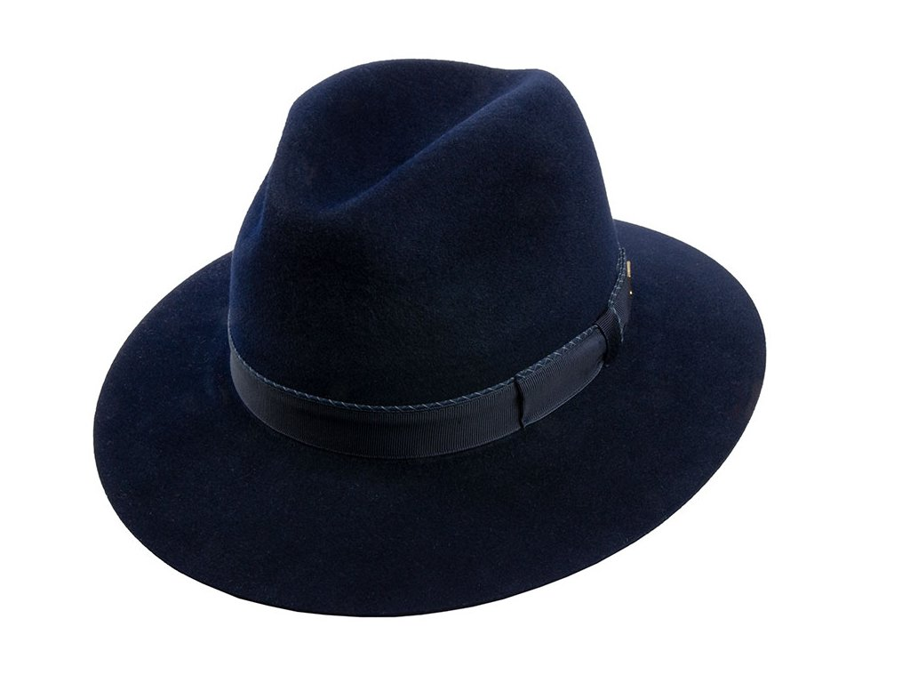 Modrý plstěný klobouk od Tonak - 12767/18 Fedora Uomo Motivo