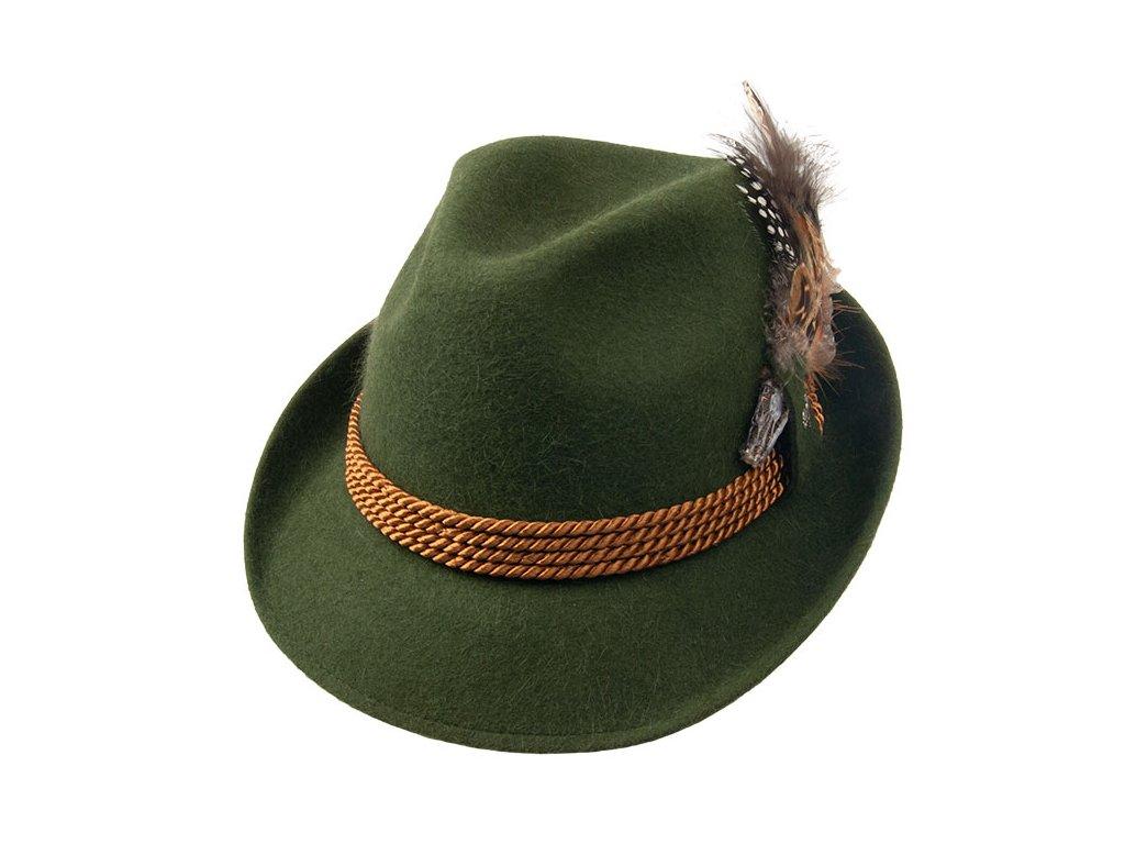 Myslivecký zelený klobouk z králičí srsti 12771/18