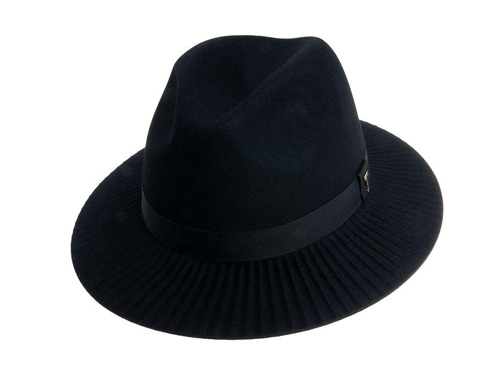 Dámský černý klobouk fedora - Tonak 12774/18